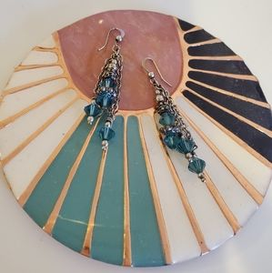 Jewelry - Sterling Silver & Teal Bead Pendant Earrings